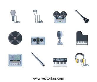 set of icons musical instruments on white background