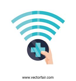 hand with wifi symbol on white background
