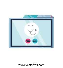computer screen with online medical support