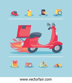 set of icons fast delivery and motorcycle