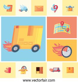 set of icons fast delivery