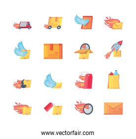 set of icons fast delivery on white background