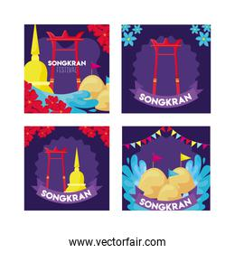 pack of cards of songkran festival in thailand