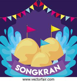 songkran festival traditional with sand palace