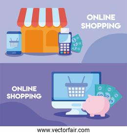 set of poster of online shopping with icons