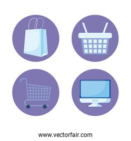 set of icons online shopping