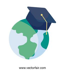 earth globe with graduation cap on white background