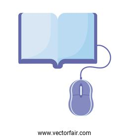 book and computer mouse, online education, training or learning