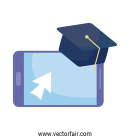 smartphone with graduation cap on white background