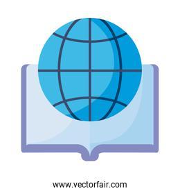 open book with symbol global education on white background
