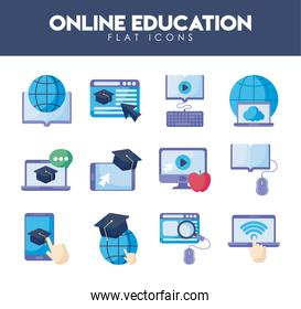 set of icons online education, education technology
