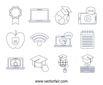 set of icons online education, education technology, line style icon