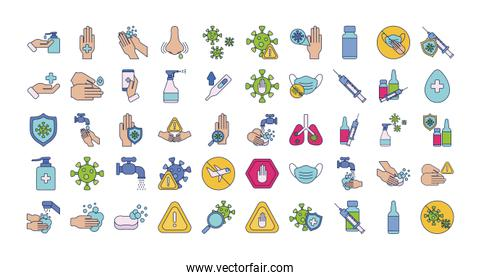 set of icons vaccination medical immunization, line and fill style icon