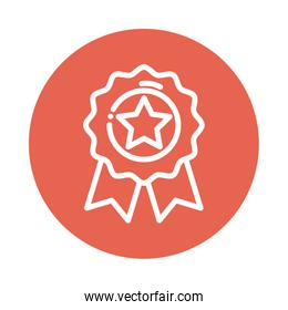 badge with star block and flat style icon