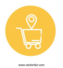 shopping cart with location tag block and flat style icon