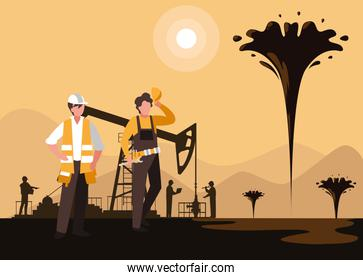 oil industry scene with derrick and workers