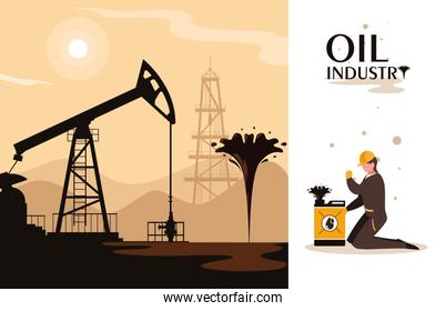 oil industry scene with derrick and worker