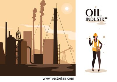 oil industry scene with plant pipeline and worker