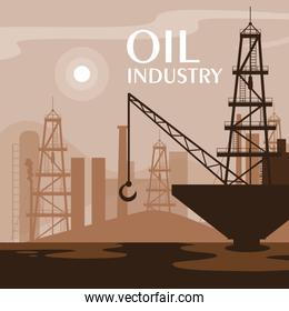 oil industry scene with marine platform