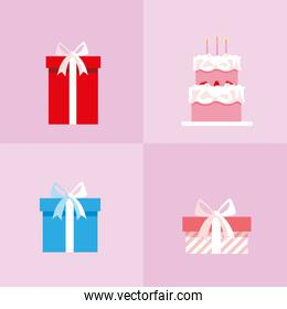 set of gifts boxes and sweet cake