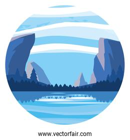 landscape with lake in circular frame