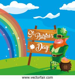 st patrick day with leprechaun and cauldron in landscape