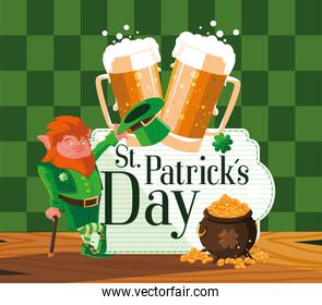 st patrick day with leprechaun and icons