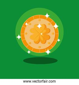st patrick day and coin with clover