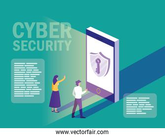 mini people with smartphone and cyber security