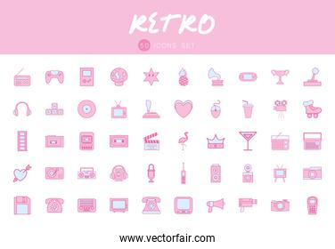 50 neon line and fill style icon set vector design