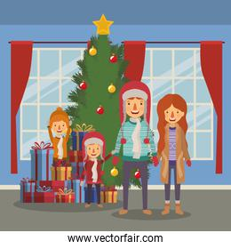 family members celebrating christmas with pine tree in the house