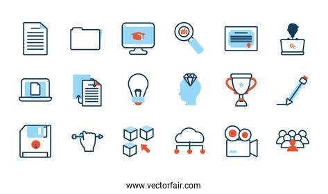 elearning and business set icons
