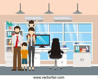 Father and mother with sons vector design