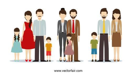 Fathers and mothers with sons vector design