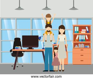 Father and mother with daughters vector design