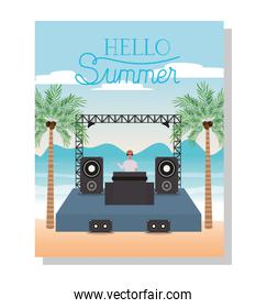 Music concert and hello summer vector design
