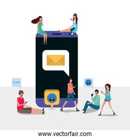 Digital smartphone and people vector design