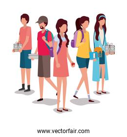 School students kids vector design