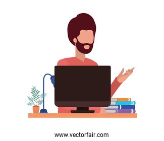 Avatar man person with computer vector design
