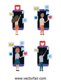 Digital technology and social media icon set vector design