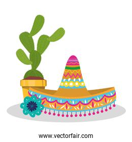 Mexican hat and cactus vector design