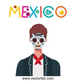 Mexican man with skull face vector design