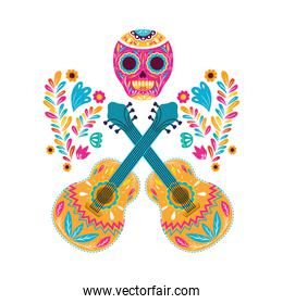 Mexican skull and guitars vector design