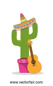 Mexican hat guitar and cactus vector design