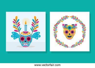Mexican skull and candle vector design