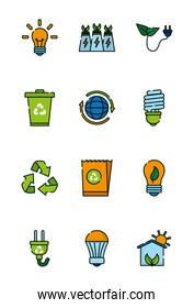 Isolated ecology and bio icon set vector design