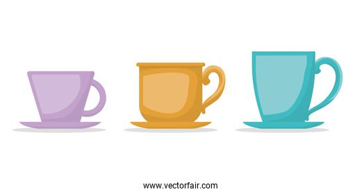 Style coffee cups vector design