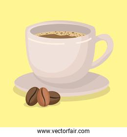 Coffee cup and beans vector design
