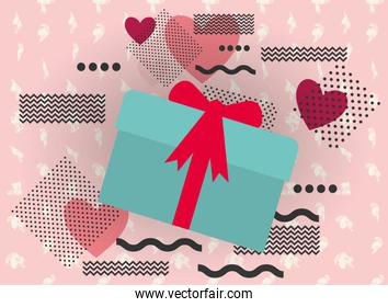 Happy valentines hearts and gift vector design