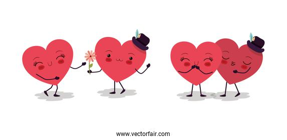 Happy valentines heart cartoons vector design